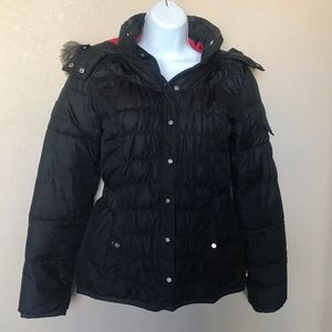 Tommy Hilfiger black puffy coat hood red interior